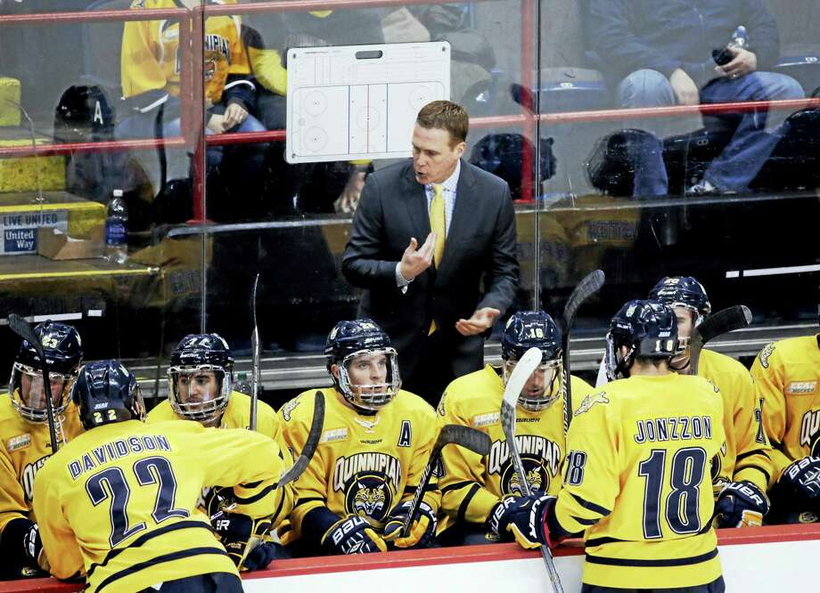 Quinnipiac head coach Rand Pecknold talks to players during the first period of the NCAA men's East Regional championship hockey game against UMass Lowell last March in Albany, N.Y. The Bobcats are 13-10-2, but ranked 19th in the nation. Photo: ASSOCIATED PRESS FILE PHOTO   / Copyright 2016 The Associated Press. All rights reserved. This material may not be published, broadcast, rewritten or redistribu