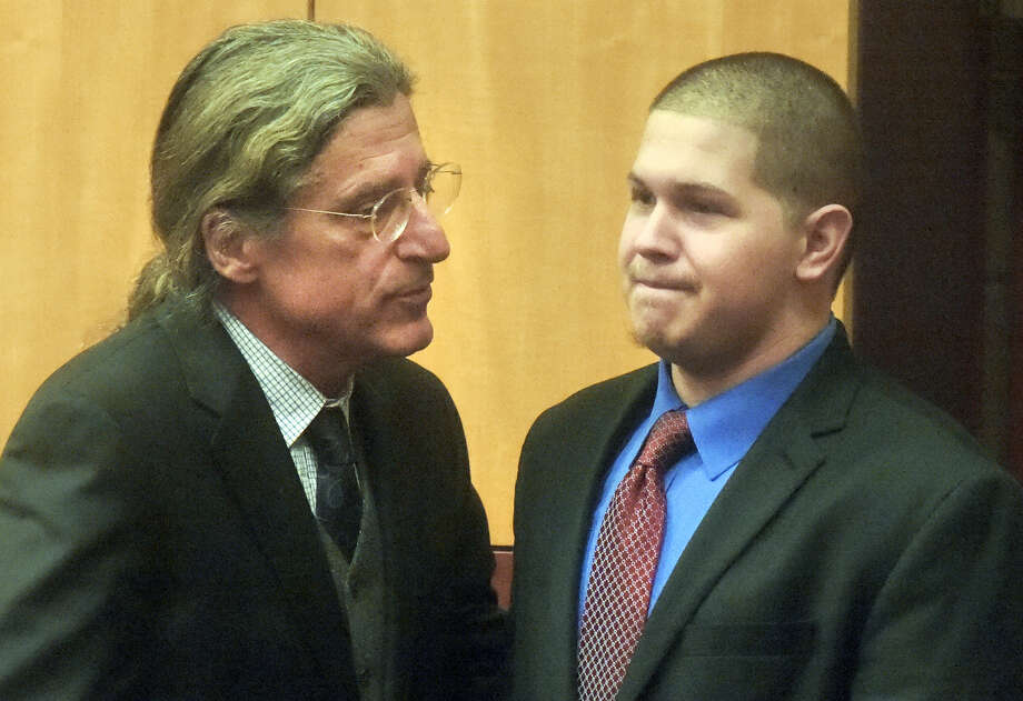 Tony Moreno, right, enters the courtroom with his attorney, Norman Pattis during his murder trial at Middlesex Superior Court Tuesday morning in Middletown. Moreno is charged with killing his 7-month-old son by throwing the boy off a bridge. Photo: Patrick Raycraft — Hartford Courant, Pool Photo   / Pool Hartford Courant