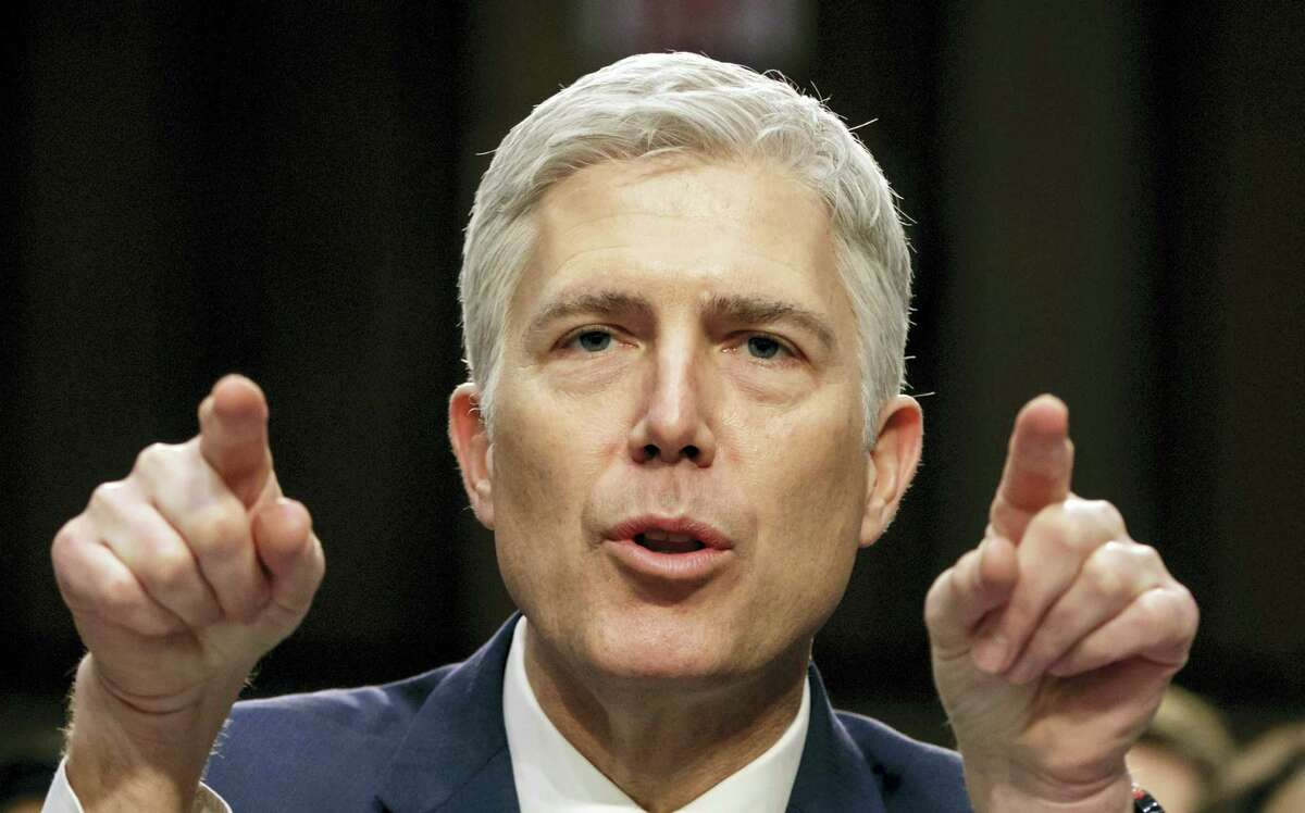 In this March 22, 2017, file photo, Supreme Court nominee Judge Neil Gorsuch speaks during his confirmation hearing, on Capitol Hill in Washington. Gorsuch's confirmation as the 113th Supreme Court justice took place April 7.