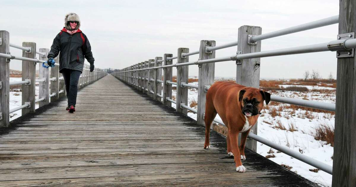 Linda Chipello of Milford with her Boxer Daisy out for their daily walk at Silver Sands State Park in 2014.