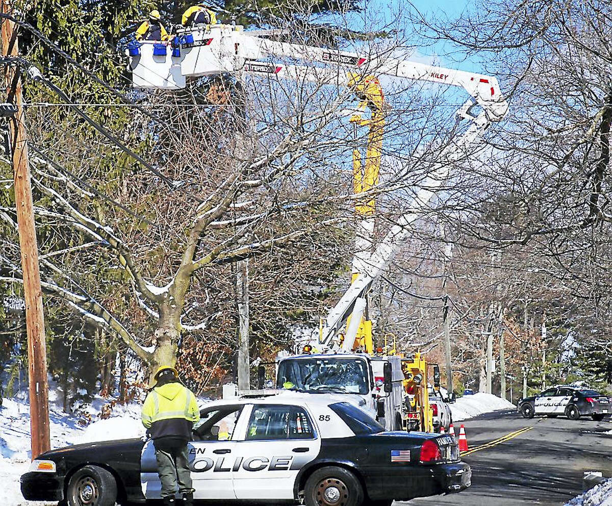 Part of Evergreen Avenue in Hamden was shut down Monday morning as crews worked to repair several downed wires amid high winds.