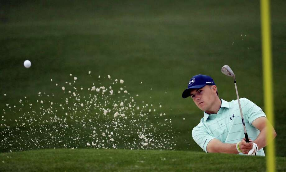 Jordan Spieth hits from a bunker on the second hole during a practice round for the Masters golf tournament Wednesday, April 5, 2017, in Augusta, Ga. (AP Photo/David J. Phillip) Photo: AP / Copyright 2017 The Associated Press. All rights reserved.