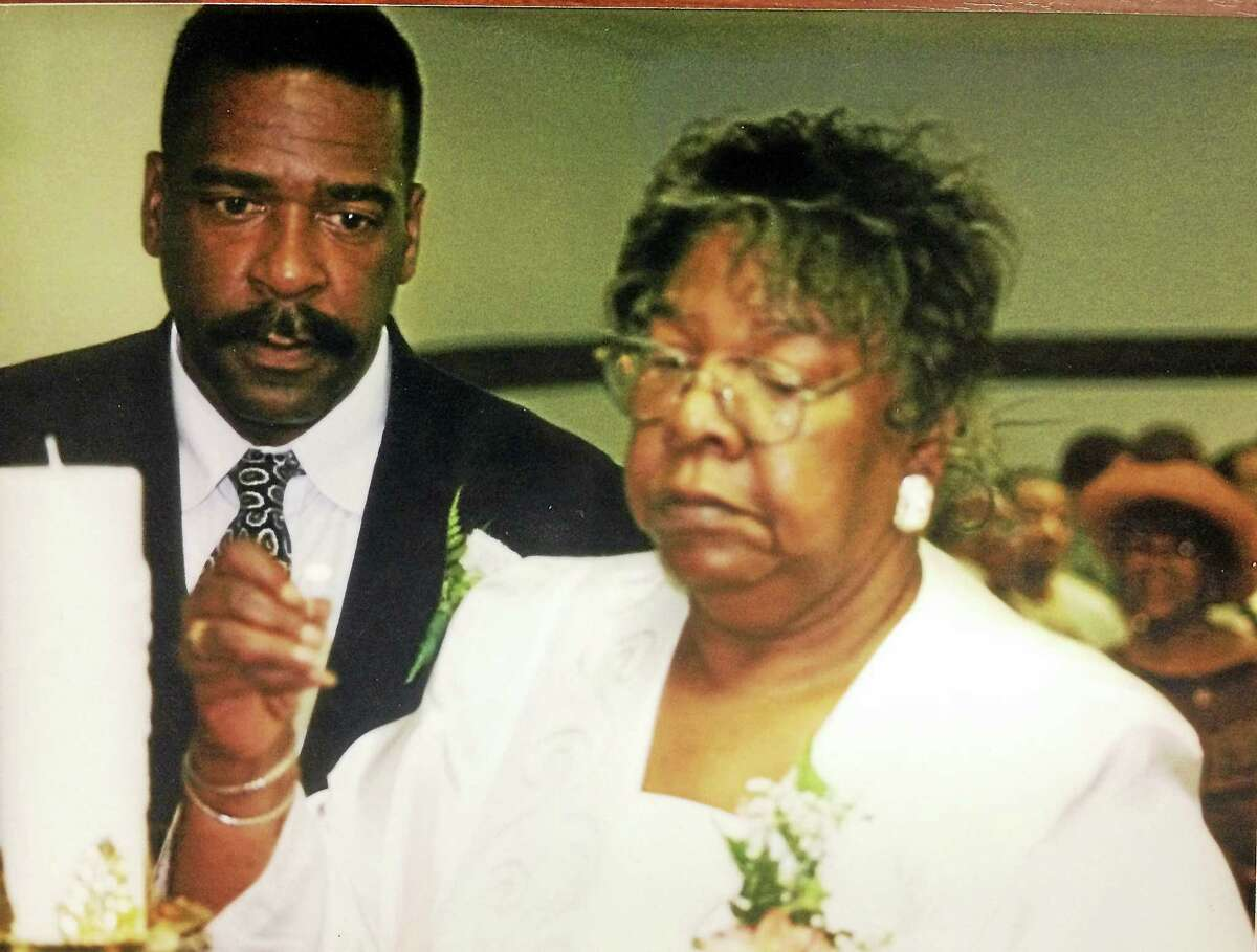 James Walker and his mother, Doris Lorraine Walker, at his sister Chimene's wedding to Benson Taylor.