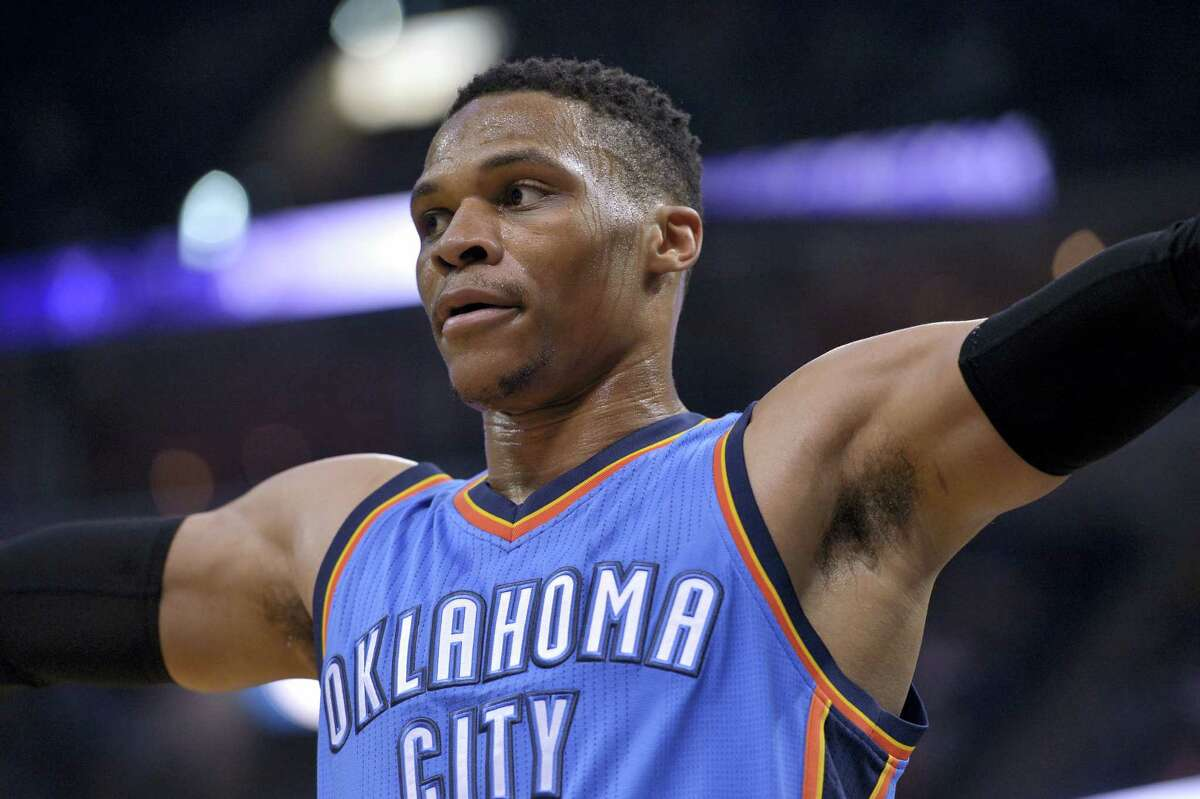Oklahoma City Thunder guard Russell Westbrook plays in the second half of an NBA basketball game against the Memphis Grizzlies on April 5, 2017 in Memphis, Tenn.