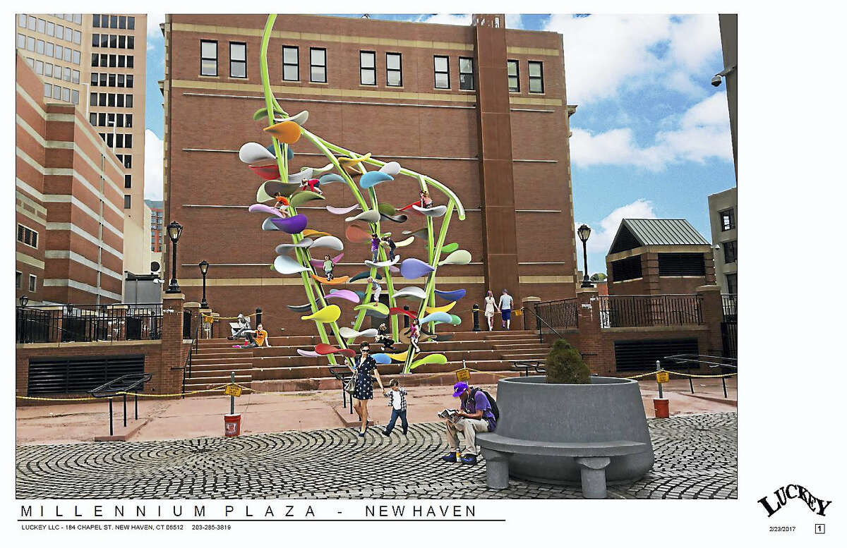 Sketch of the Luckey Climber that has been designed for Millenium Plaza in New Haven behind City Hall.