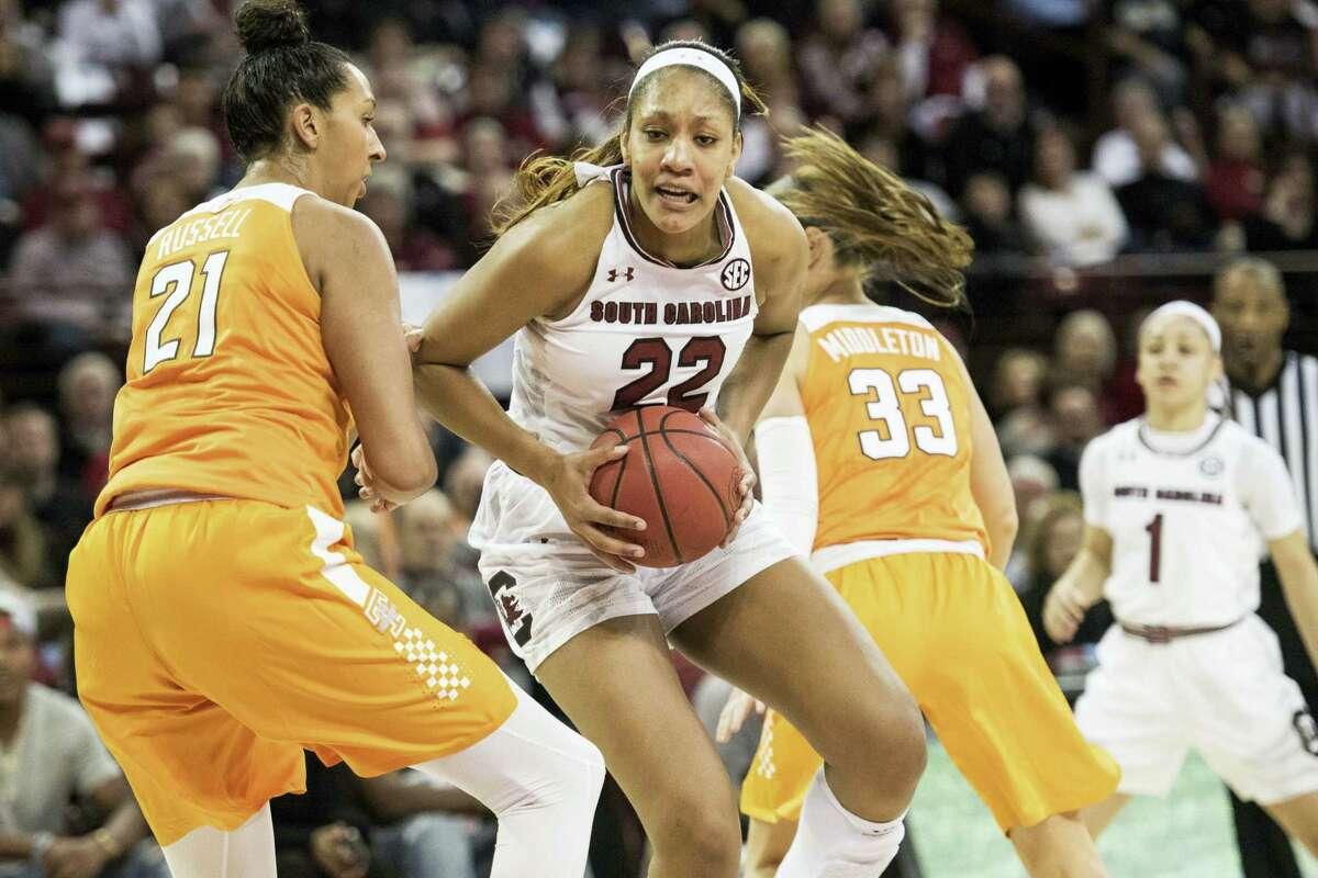 South Carolina forward A'ja Wilson (22).