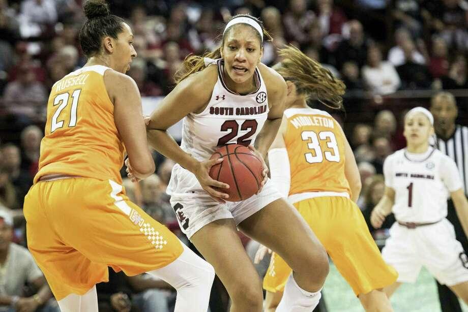 South Carolina forward A'ja Wilson (22). Photo: The Associated Press File Photo   / The Associated Press