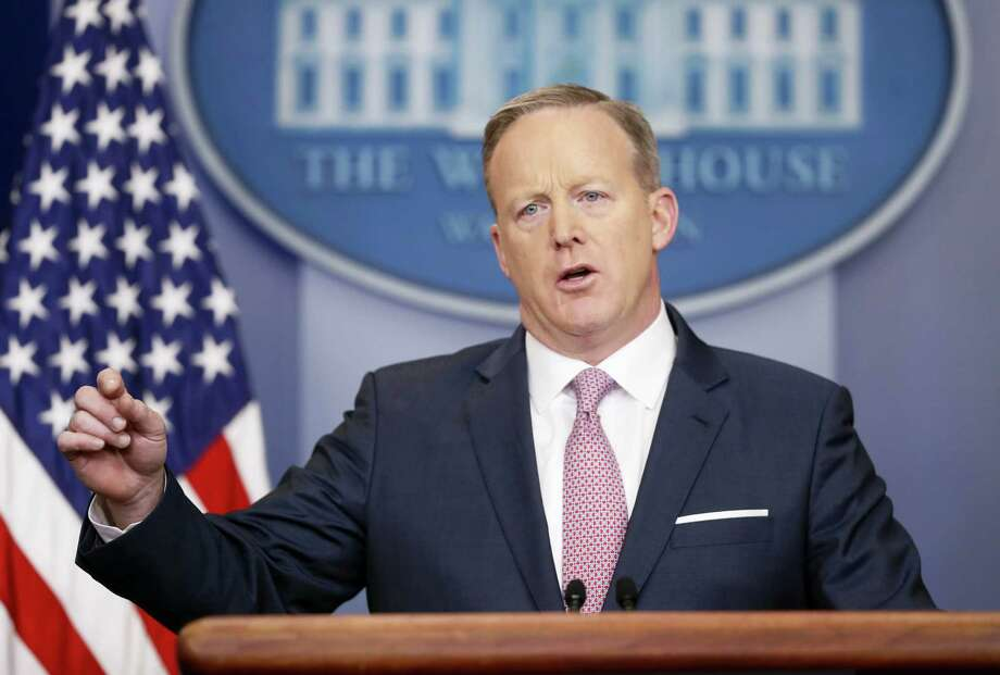 White House Press Secretary Sean Spicer speaks during the daily White House briefing Monday in the briefing room of the White House. Photo: Pablo Martinez Monsivais — THE ASSOCIATED PRESS   / AP