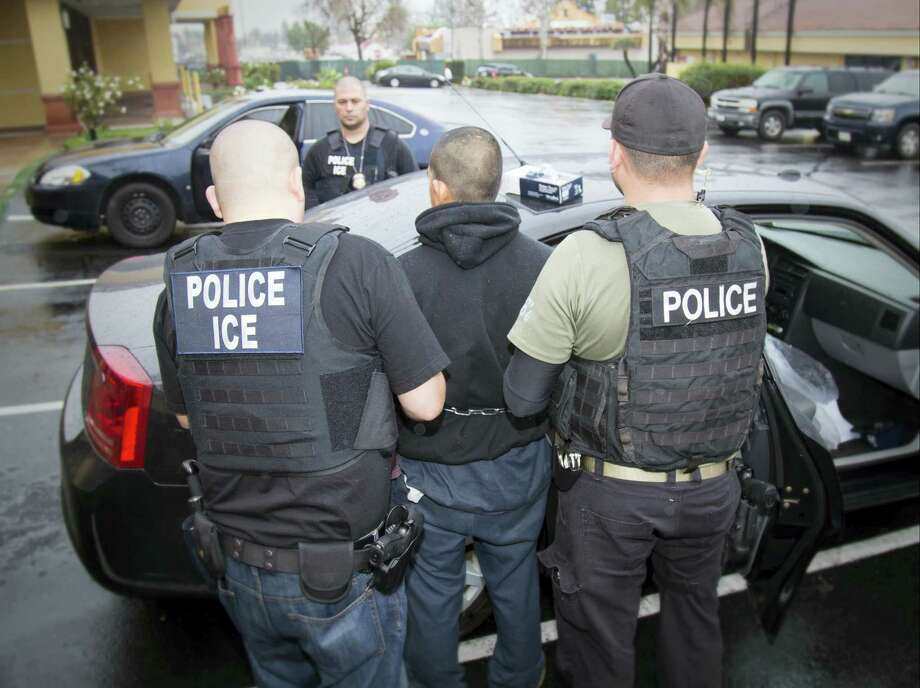In this Feb. 7, 2017 photo released by U.S. Immigration and Customs Enforcement shows foreign nationals being arrested this week during a targeted enforcement operation conducted by U.S. Immigration and Customs Enforcement (ICE) aimed at immigration fugitives, re-entrants and at-large criminal aliens in Los Angeles. Immigrant advocates on Friday, Feb. 10, 2017 decried a series of arrests that federal deportation agents said aimed to round up criminals in Southern California but they believe mark a shift in enforcement under the Trump administration. Photo: Charles Reed/U.S. Immigration And Customs Enforcement Via AP   / Public Domain Charles Reed/U.S. Immigration and Customs Enforcement
