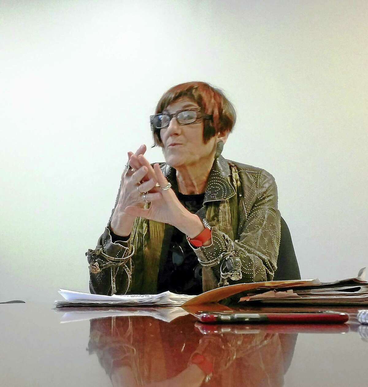 U.S. Rep. Rosa DeLauro, D-3, makes a point during an editorial board meeting with the New Haven Register.