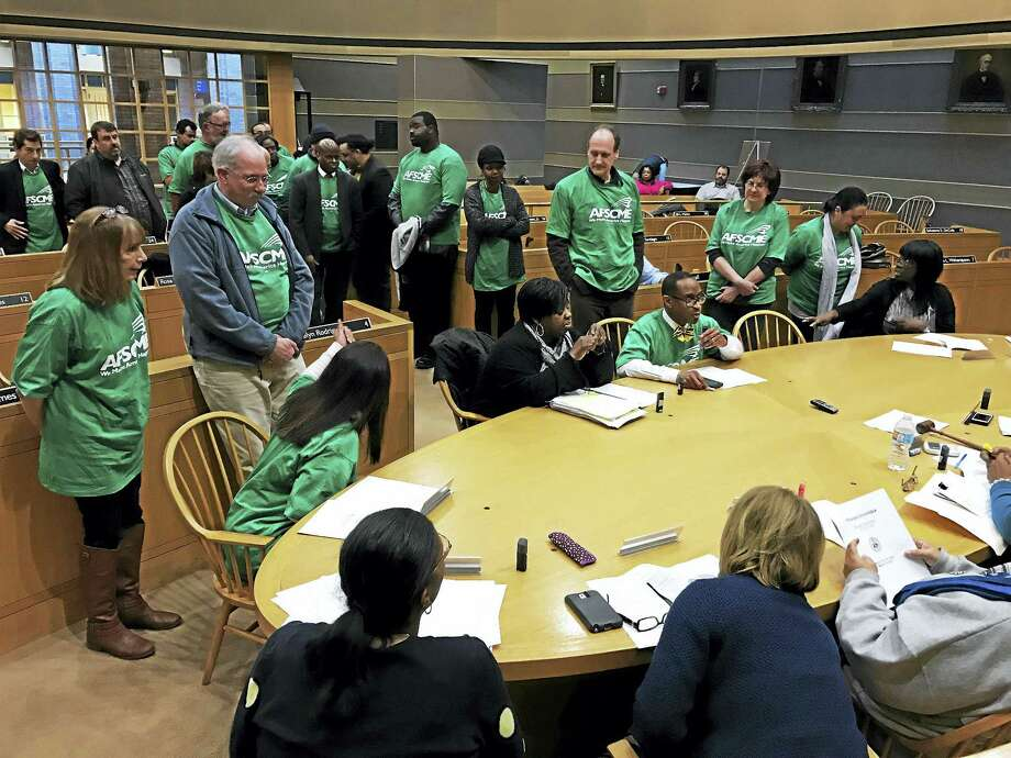 Local 3144 Union members during the Board of Alders Finance Committee meeting Monday at the Aldermanic Chambers in New Haven City Hall Photo: Esteban L. Hernandez — New Haven Register
