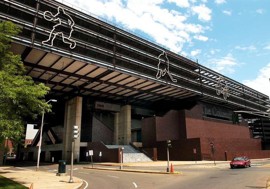 The New Haven Coliseum was imploded in 2007. The site is now surface parking. Photo: Journal Register Co.