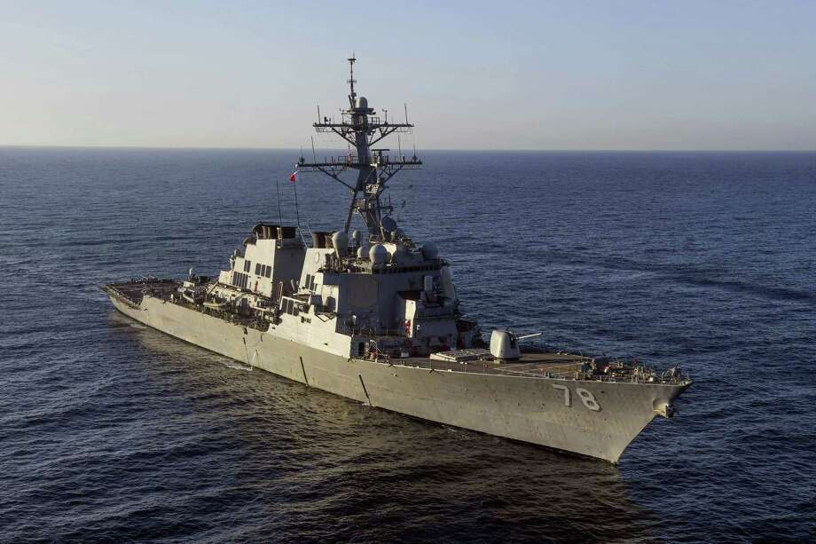 In this image provided by the U.S. Navy, the guided-missile destroyer USS Porter (DDG 78) transits the Mediterranean Sea on March 9, 2017. The United States fired a barrage of cruise missiles into Syria Thursday night in retaliation for this week'Äôs gruesome chemical weapons attack against civilians, the first direct American assault on the Syrian government and Donald Trump'Äôs most dramatic military order since becoming president. The Tomahawk missiles were fired from warships USS Porter and USS Ross in the Mediterranean Sea. (Mass Communication Specialist 3rd Class Ford Williams/U.S. Navy via AP) Photo: AP / U.S. Navy