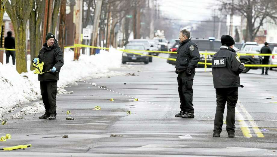 West Haven Police investigate the scene of a fatal shooting at the corner of Captain Thomas Boulevard and Campbell Ave. in West Haven on Saturday morning Feb. 11, 2017. Photo: Arnold Gold-New Haven Register