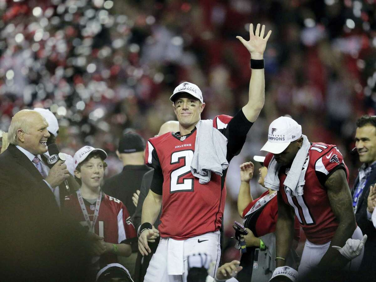 The Falcons' Matt Ryan celebrates after Sunday's win over the Packers in the NFC championship game.