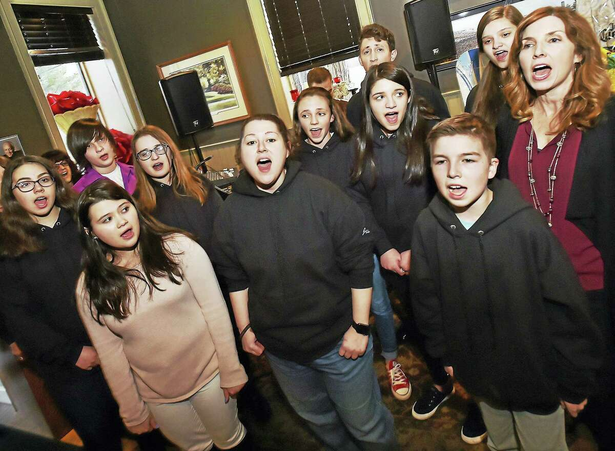 "The members of the cast of Stand Up and Speak Out, an anti-bullying musical perform ""Her Song"" at Pledge to Stop Bullying fundraiser, at Brother Mike's Restaurant and Bar at 56 Academy Road in Madison. The musical is produced by four-time Emmy nominated songwriter Jill Nesi, directed by Colin Sheehan, choreographed by Michelle Natalino and music composition by Nick Fradiani Sr. and Jill Nesi. (Catherine Avalone/New Haven Register)"