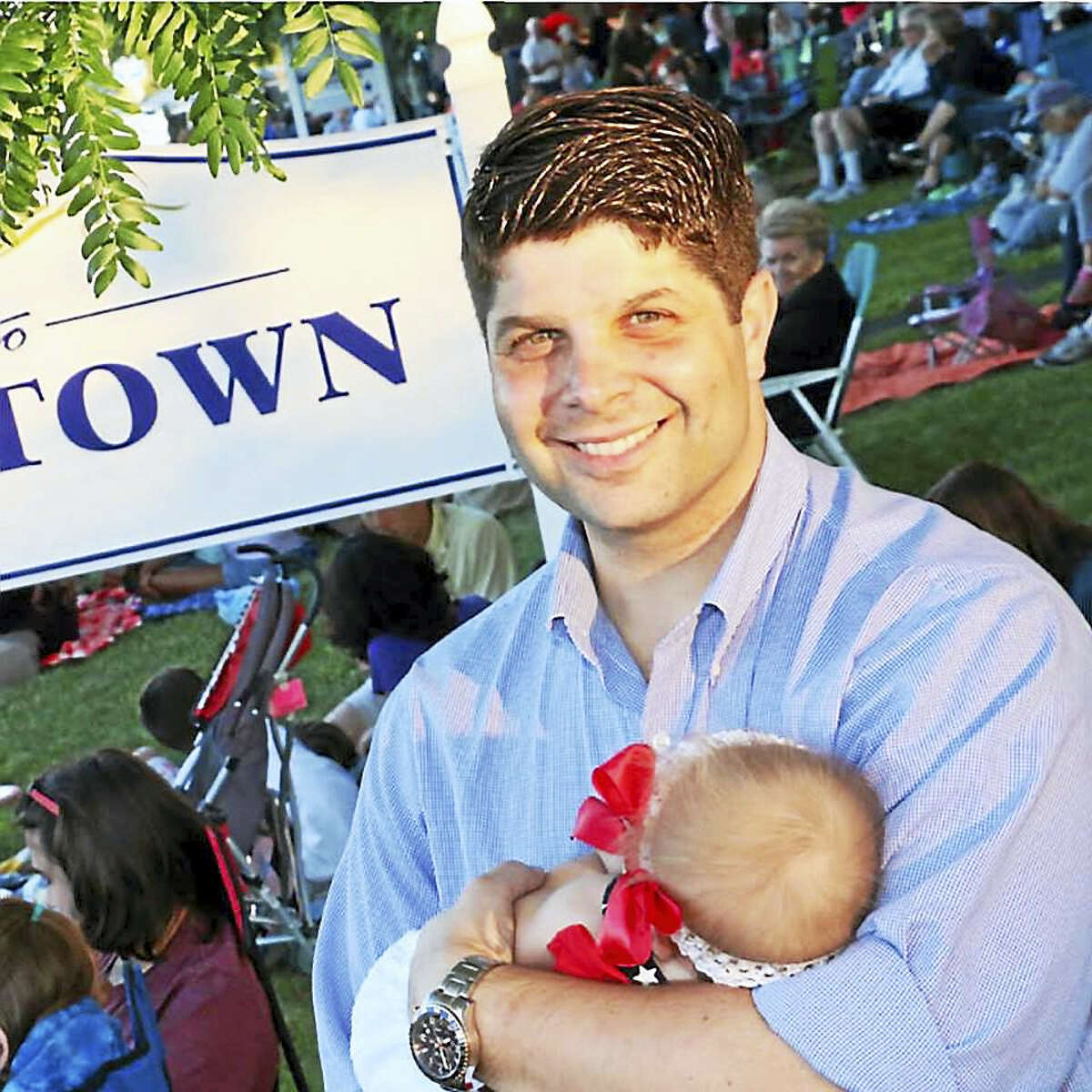Middletown Mayor Dan Drew, 37, is shown with his daughter Lily, now 16 months old.