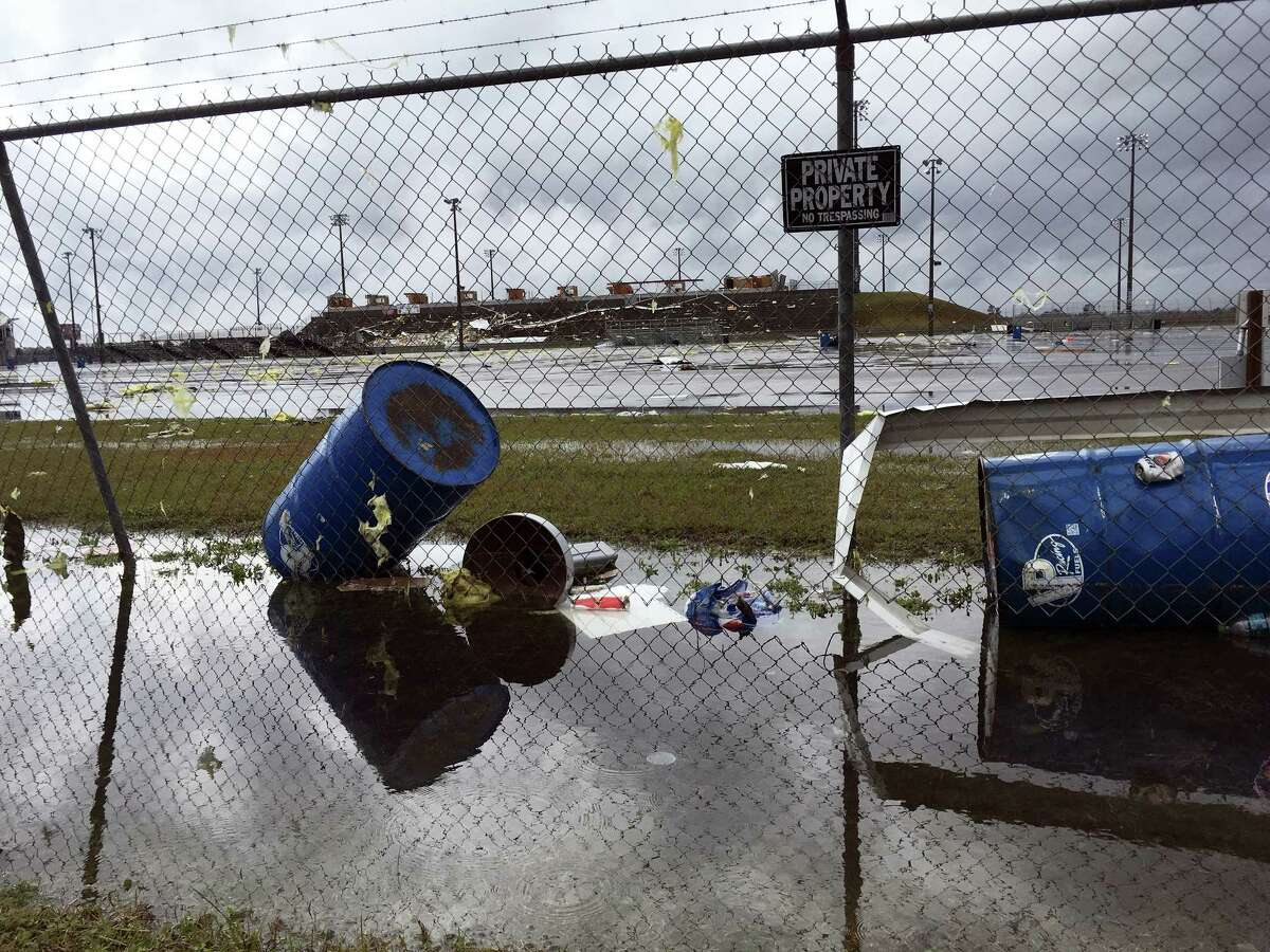 Storm damage is seen at South Georgia Motorsports Park in Cecil, Ga. on Jan. 22, 2017. Georgia Gov. Nathan Deal has declared a state of emergency in seven counties that have suffered deaths, injuries and severe damage from weekend storms.