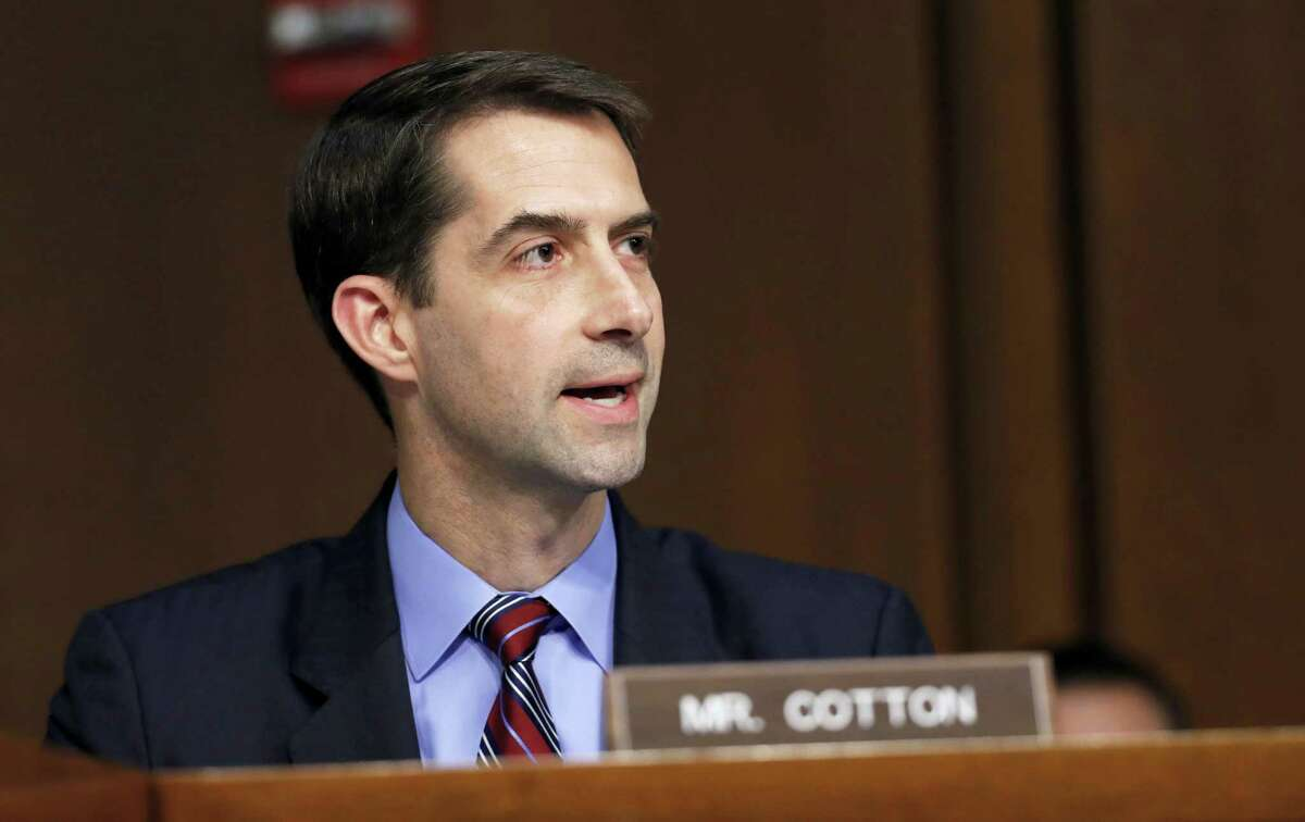 Sen. Tom Cotton, R-Ark., questions Attorney General Jeff Sessions on Capitol Hill in Washington, Tuesday, June 13, 2017, as he testifies before the Senate Intelligence Committee hearing about his role in the firing of James Comey, his Russian contacts during the campaign and his decision to recuse from an investigation into possible ties between Moscow and associates of President Donald Trump.