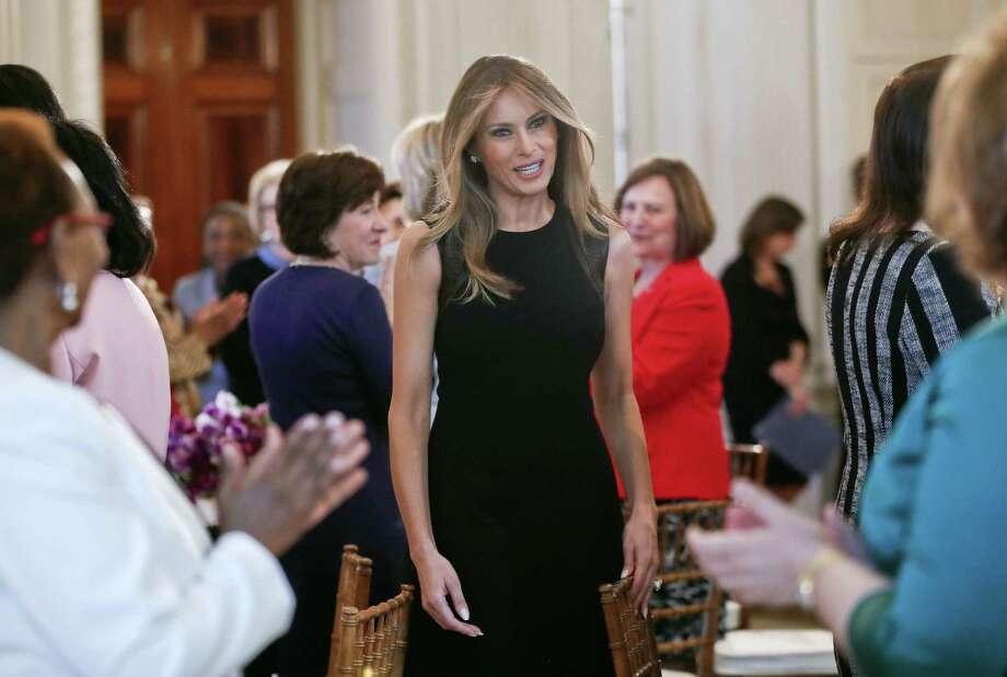 First lady Melania Trump arrives in the State Dining room of the White House in Washington, Wednesday, March 8, 2017, where she hosted a luncheon on International Women's Day. Photo: AP Photo/Pablo Martinez Monsivais    / Copyright 2017 The Associated Press. All rights reserved.