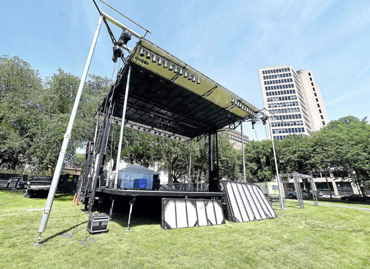 The city's new stage is seen on the Green Wednesday.