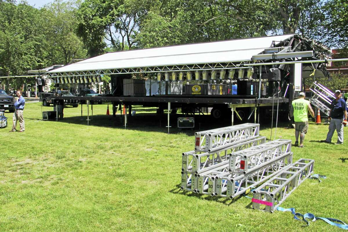 The new city-owned stage during its erection Wednesday on the New Haven Green.