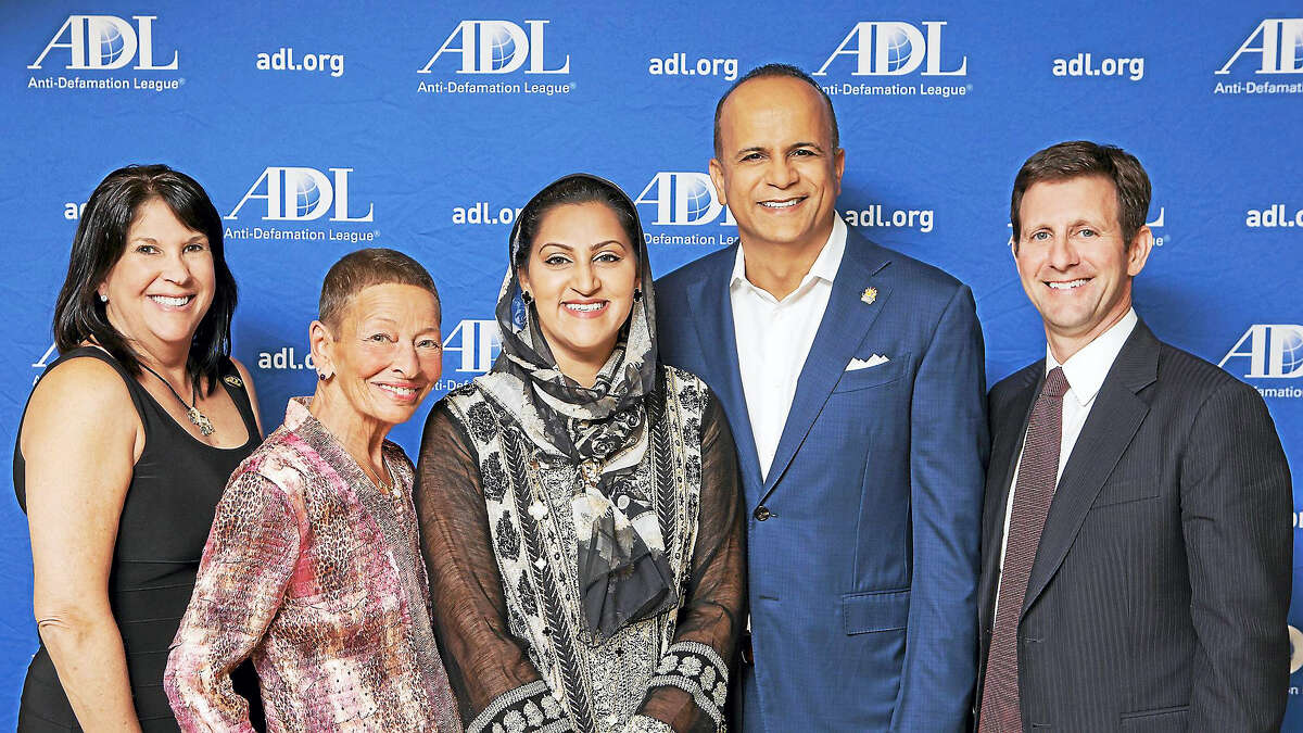 From left, ADL Regional Board Chairwoman Robyn Teplitzky, Lindy Lee Gold, Asma Farid, Tariq Farid and ADL Connecticut Director Steve Ginsburg.