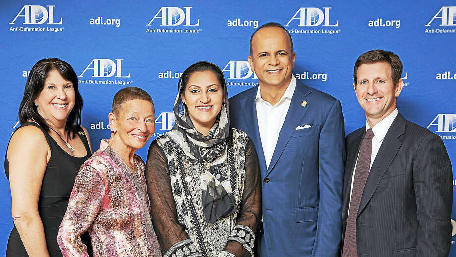 From left, ADL Regional Board Chairwoman Robyn Teplitzky, Lindy Lee Gold, Asma Farid, Tariq Farid and ADL Connecticut Director Steve Ginsburg. Photo: CONTRIBUTED PHOTO/Harold Shapiro   / Copyright: Photo Credit Must Be Given