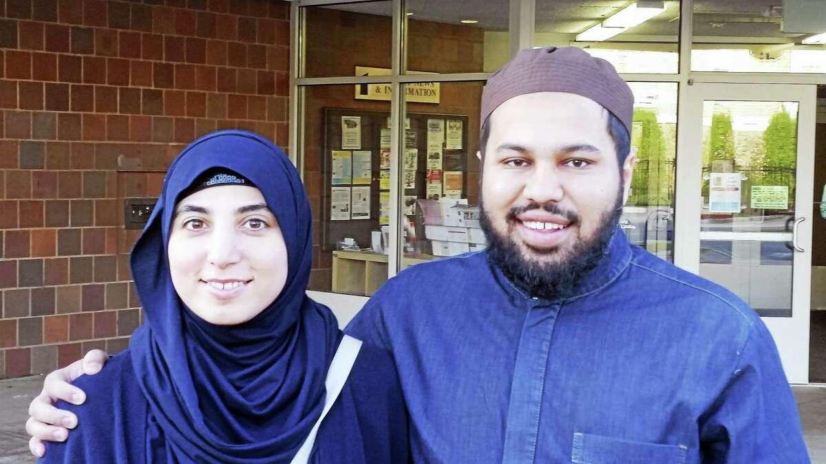 PAM MCLOUGHLIN — NEW HAVEN REGISTER Vjosa Qerimi and her husband, Imam Sami Abdul Aziz