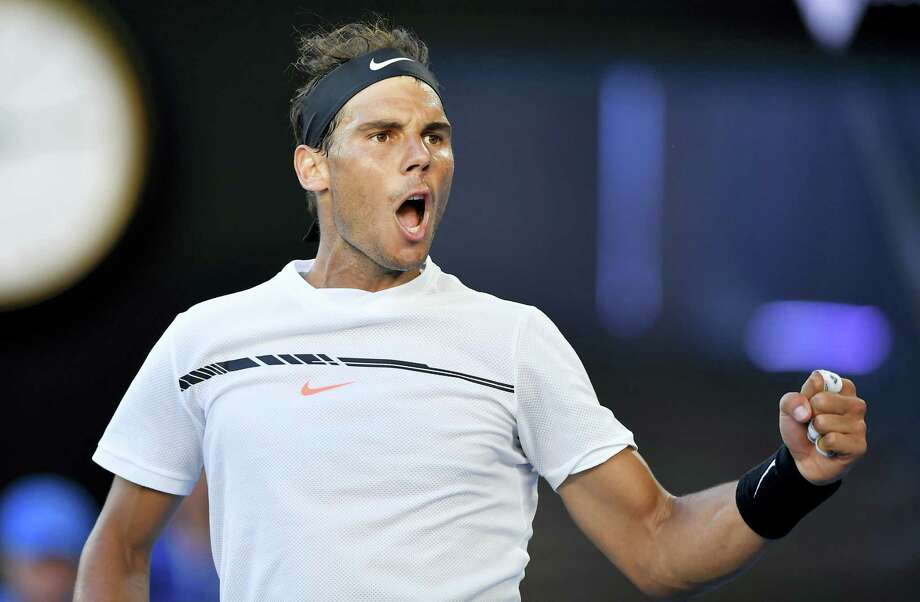 Rafael Nadal celebrates a point win against Alexander Zverev during their third-round match Saturday at the Australian Open. Photo: Andy Brownbill — The Associated Press   / Copyright 2017 The Associated Press. All rights reserved.