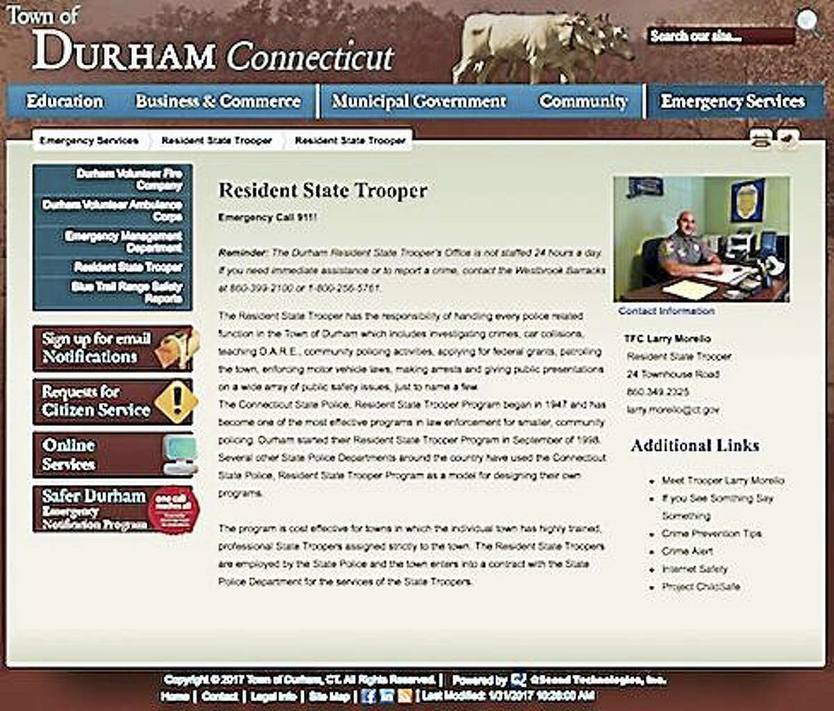 This is the webpage for the resident state trooper assigned to Durham.