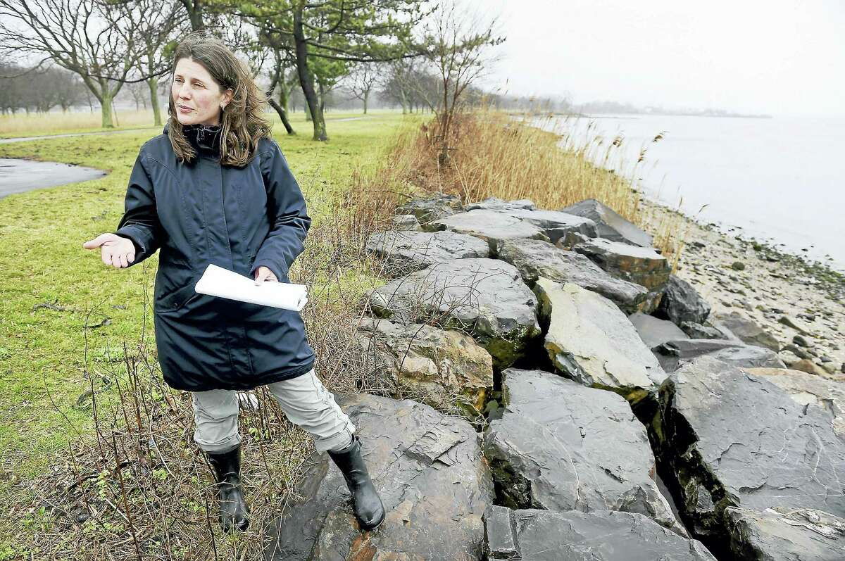 Elsa Loehmann, associate director of river restoration for Save the Sound, talks about a conceptual plan to create a living shoreline at East Shore Park in New Haven.