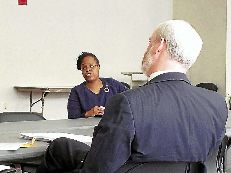 Sherri Davis-Googe, director of choice and enrollment in New Haven, briefs members of the Board of Education's Finance and Operations Committee Monday on the placement process for the 2017-18 year. Photo: Brian Zahn — New Haven Register