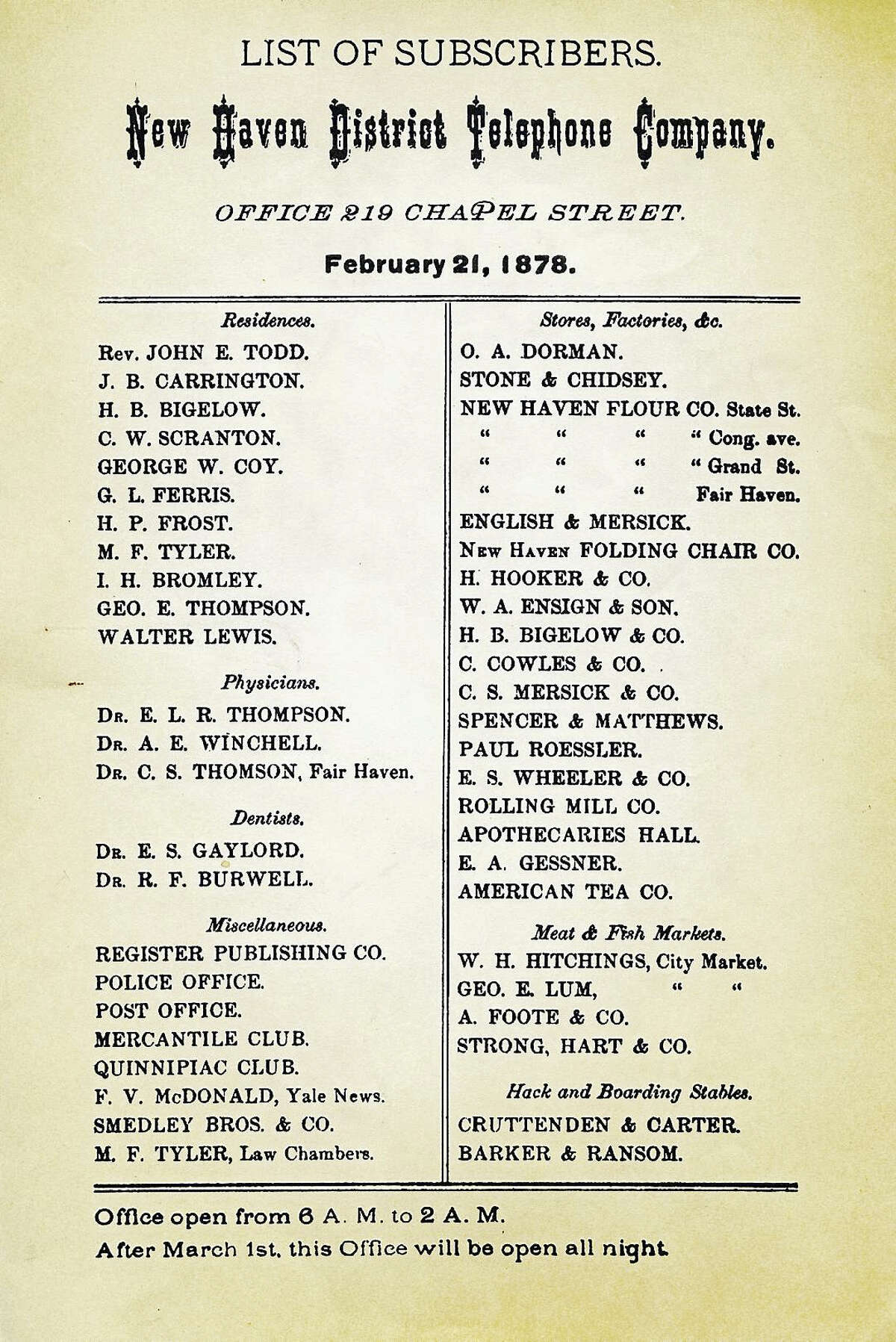 The first phone directory, from 1878.