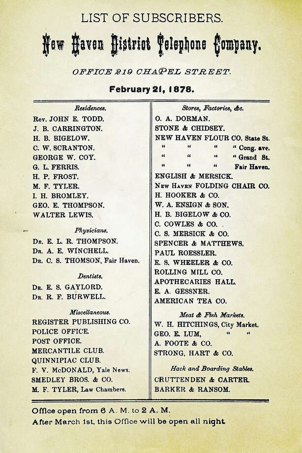 The first phone directory, from 1878. Photo: Photo Courtesy Of New Haven Museum