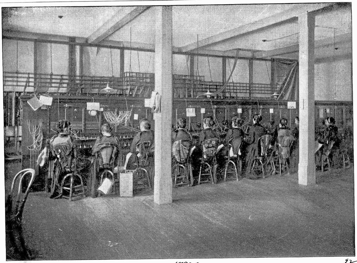 An interior view of the New Haven Telephone Co.
