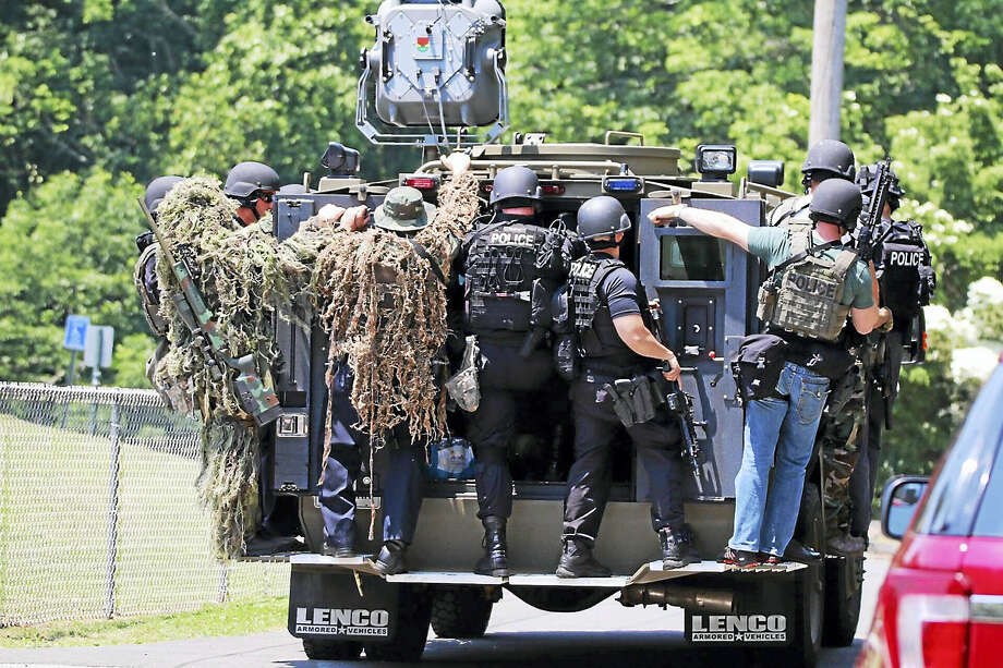 Police were on the scene at Eisenhower Park in Milford on Tuesday, searching for a man who was believed to have weapons with him. Photo: Courtesy Of Edgar Breban