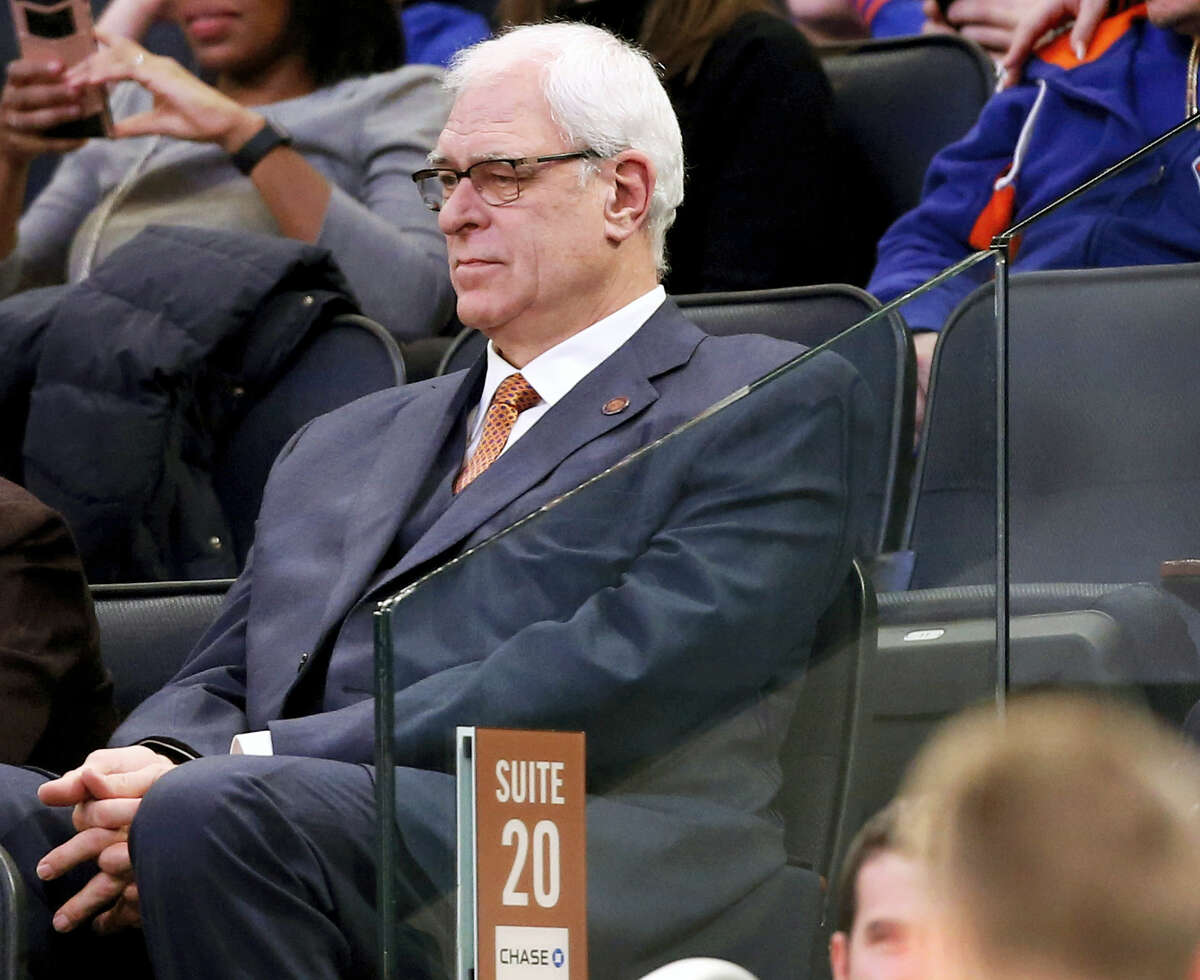 In this Jan. 9, 2017 photo, New York Knicks president Phil Jackson watches from the stands during the second half of an NBA basketball game against the New Orleans Pelicans at Madison Square Garden in New York. Jackson may be trying to trade Carmelo Anthony because he's given up trying to change him. That seemed to be the conclusion when he broke his Twitter silence with a tweet that was another dig at the star forward.