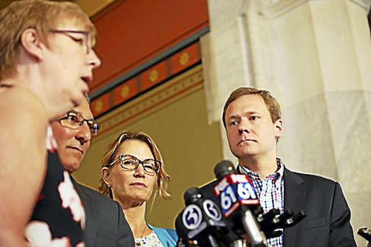 State Sen. Cathy Osten, Senate Republican President Len Fasano, House Minority Leader Themis Klarides and House Majority Leader Matt Ritter