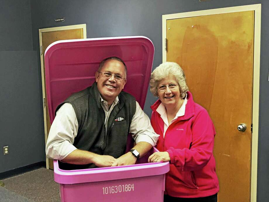 First Selectman Kurt Miller and Seymour Pink founder Mary Deming Photo: Rory Burke/Seymour Town Hall