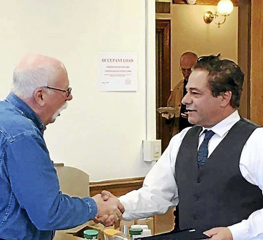 Former Fire Marshal Ralph Tingley and Mayor David Cassetti. Photo:  CONTRIBUTED PHOTO — Lorie Vaccaro