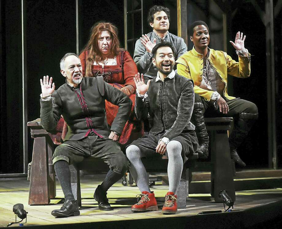 "From left, in ""Imogen Says Nothing,"" are Thom Sesma, Ashlie Atkinson, Daisuke Tsuji, Ricardo Dávila and Hubert Point-du Jour. Photo: Catherine Avalone — Register   / Catherine Avalone/New Haven Register"