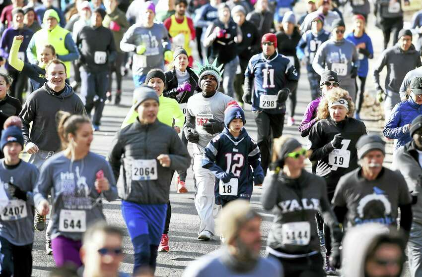 The 10th annual IRIS Run for Refugees sold out with 2,500 runners participating in the 5K in New Haven on 2/5/2017 following President Trump's executive order concerning a temporary immigration ban from seven Muslim-majority countries.