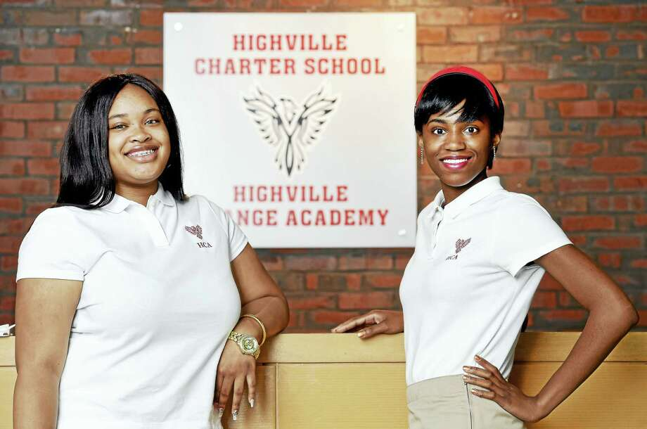 Highville Change Academy co-valedictorians N'Kiyah Galberth, left, and Natalya Chambers at the New Haven school Monday. Photo: Arnold Gold/Hearst Connecticut Media