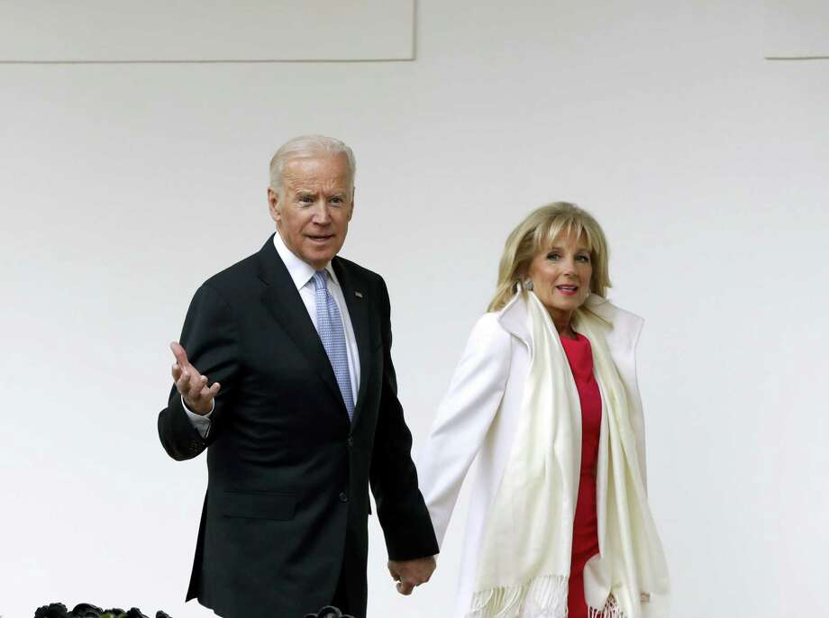 Vice President Joe Biden and his wife Jill walk along the colonnades of the White House in Washington, Friday, Jan. 20, 2017, before the start of presidential inaugural festivities for the incoming 45th President of the United States Donald Trump. Photo: Evan Vucci — AP Photo / AP