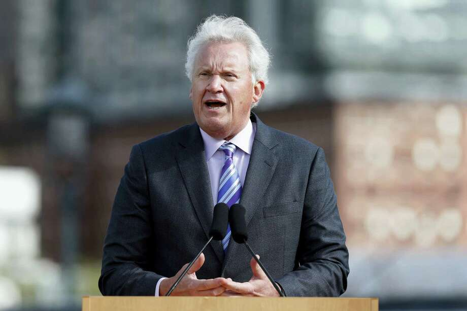In this Monday file photo, General Electric CEO Jeff Immelt speaks during a groundbreaking ceremony at the site of GE's new headquarters, in Boston. General Electric said Immelt is stepping down as CEO. John Flannery, president and CEO of the conglomerate's health care unit, will take over the post in August. Photo: Michael Dwyer — The Associated Press File   / Copyright 2017 The Associated Press. All rights reserved.