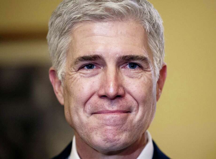 In this Feb. 1, 2017 photo, Supreme Court Justice nominee Neil Gorsuch pauses during a meeting on Capitol Hill in Washington. As a conservative student at Columbia University in the mid-1980s, Gorsuch was a political odd man out, and he was determined to speak up. Photo: AP Photo/J. Scott Applewhite   / AP