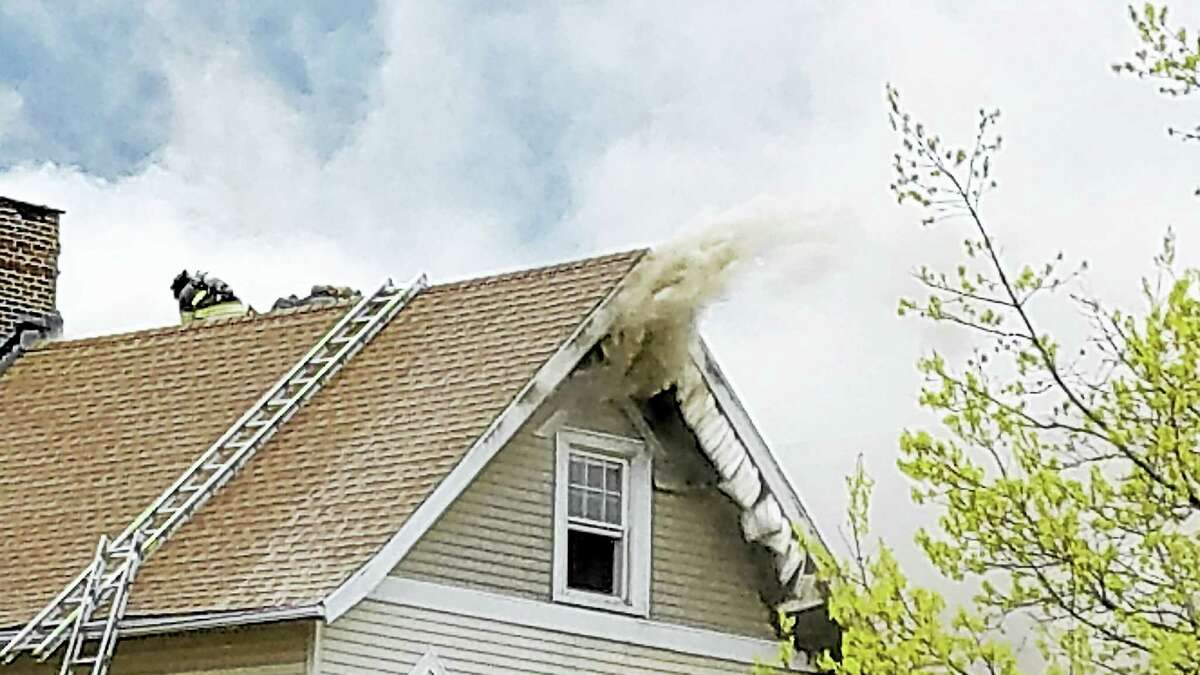 New Haven firefighters battled a blaze Sunday at Blatchley Avenue.