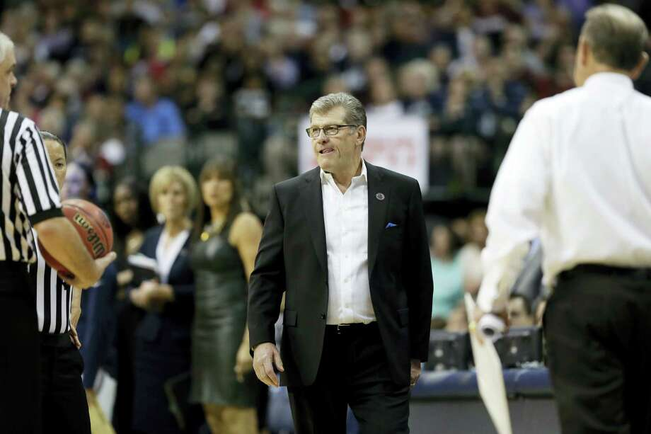 UConn coach Geno Auriemma looks on during Friday's game. Photo: Tony Gutierrez — The Associated Press   / Copyright 2017 The Associated Press. All rights reserved.