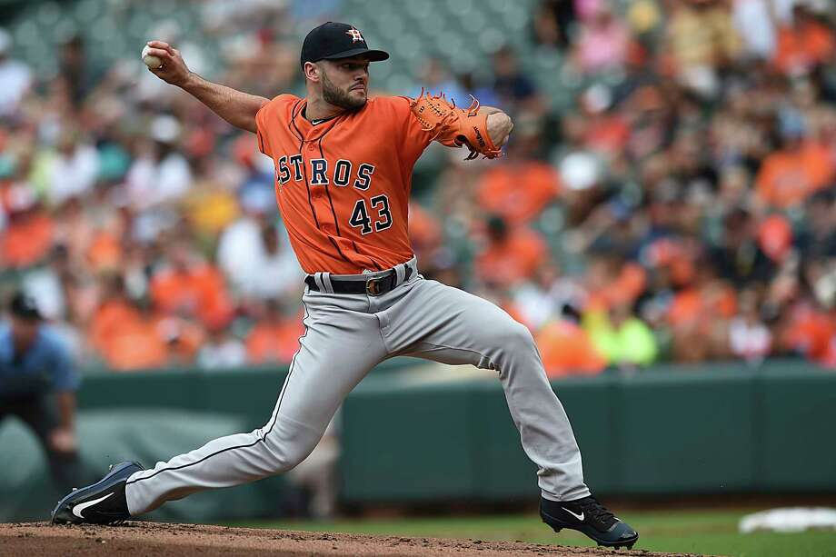 Houston Astros pitcher Lance McCullers throws against the Baltimore Orioles in the first inning of a baseball game, Sunday, July 23, 2017, in Baltimore. (AP Photo/Gail Burton) Photo: Gail Burton, Associated Press / FR4095 AP